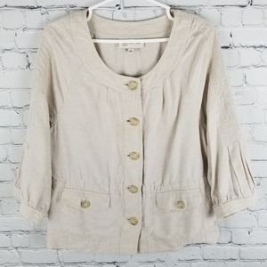 JONES NY SPORT | 100% linen button up jacket